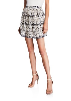 Endless Rose Snake-Print Tiered Ruffle Skirt