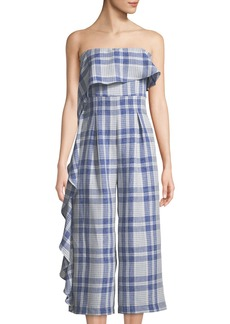 Endless Rose Strapless Ruffled Plaid Jumpsuit