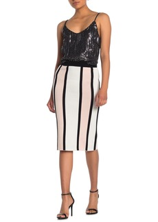 Endless Rose Striped Knit Pencil Skirt