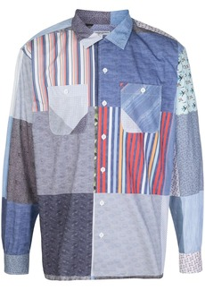 Engineered Garments patchwork style contrast print shirt