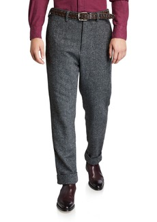 Engineered Garments Men's Andover Check Pleated Pants  Gray