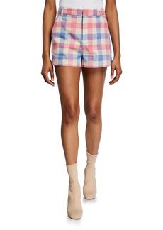 English Factory Check Flat-Front Shorts