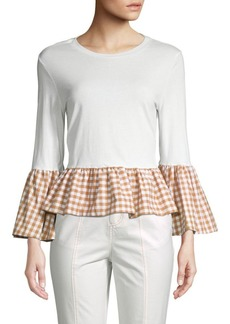 English Factory Checkered Bell-Sleeve Top