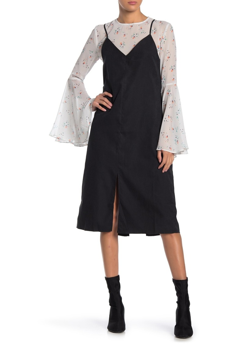 English Factory Daisy Sketch Bell Sleeve Combo Dress