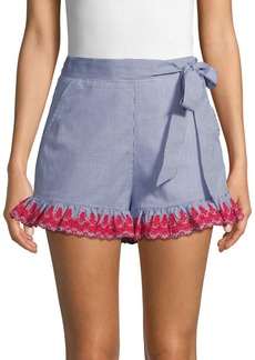 English Factory Embroidered Cotton Gingham Shorts