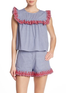 English Factory Embroidered Edge Gingham Print Tank Top