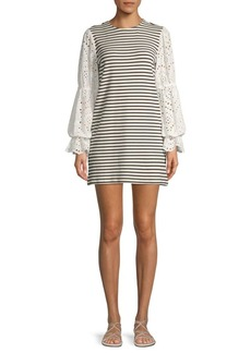 English Factory Embroidered-Sleeve Mini Dress