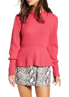 English Factory Balloon Sleeve Peplum Sweater
