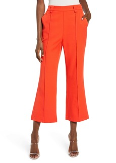 English Factory Button Detail Center Seam Flare Crop Trousers