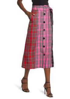 English Factory Colorblock Plaid Midi Skirt