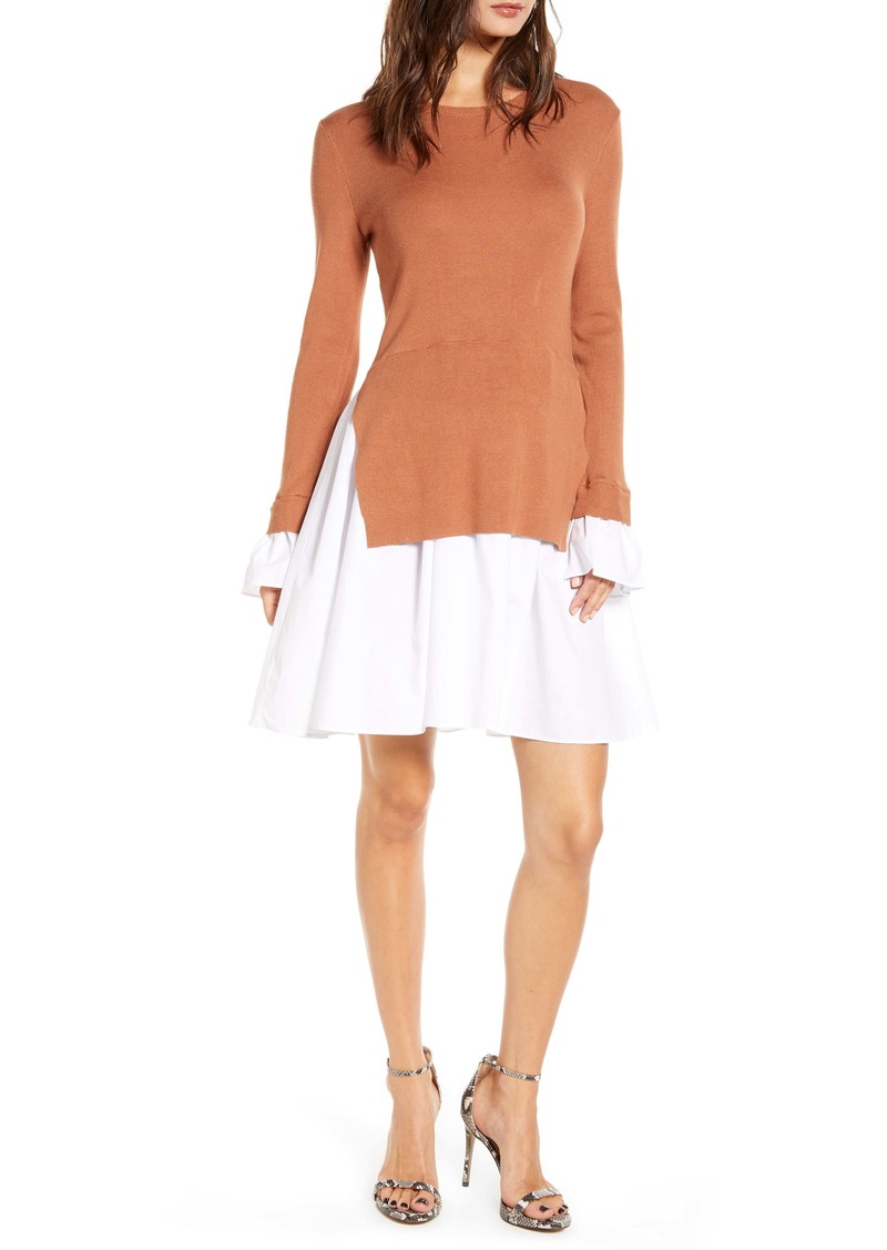 English Factory Combo Knit & Poplin Dress