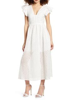 English Factory Cotton Eyelet Midi Dress