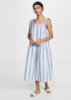 ENGLISH FACTORY Curved Hem Striped Dress