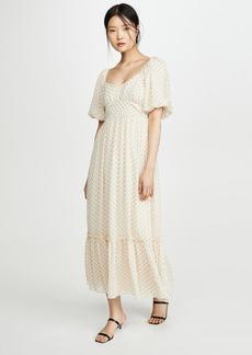 ENGLISH FACTORY Empire Maxi Puff Sleeve Dress