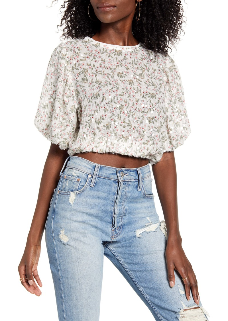 English Factory Floral & Sequin Puff Sleeve Top