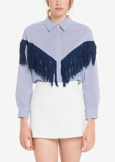 English Factory Fringe Detail Stripe Shirt
