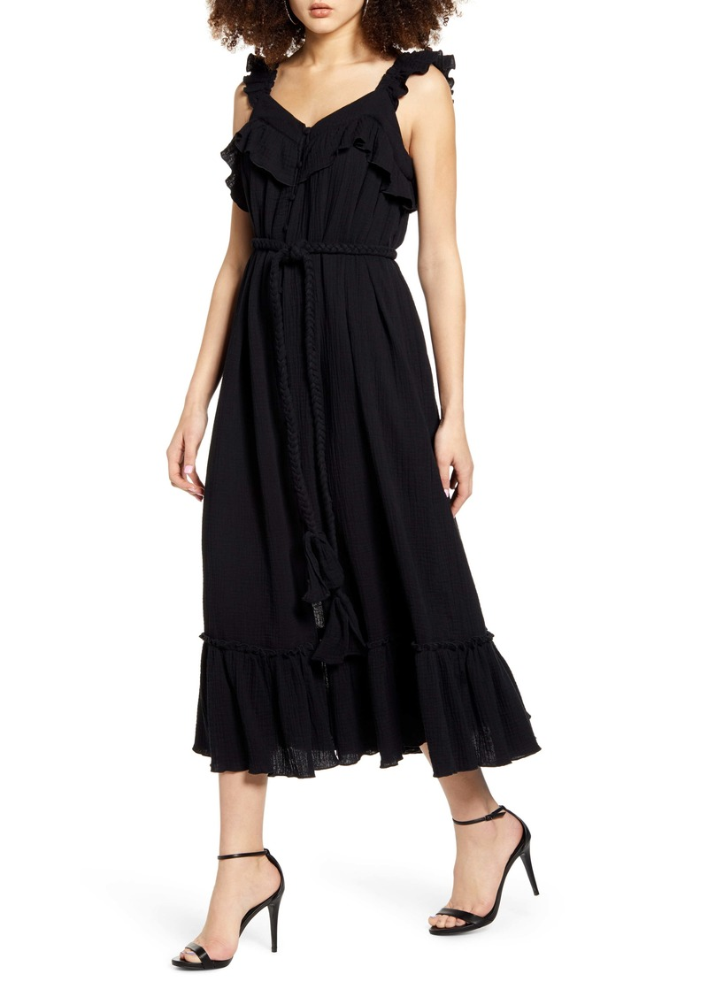 English Factory Front Slit Gauze Midi Dress