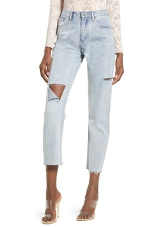 English Factory High Waist Ripped Raw Hem Nonstretch Ankle Skinny Jeans