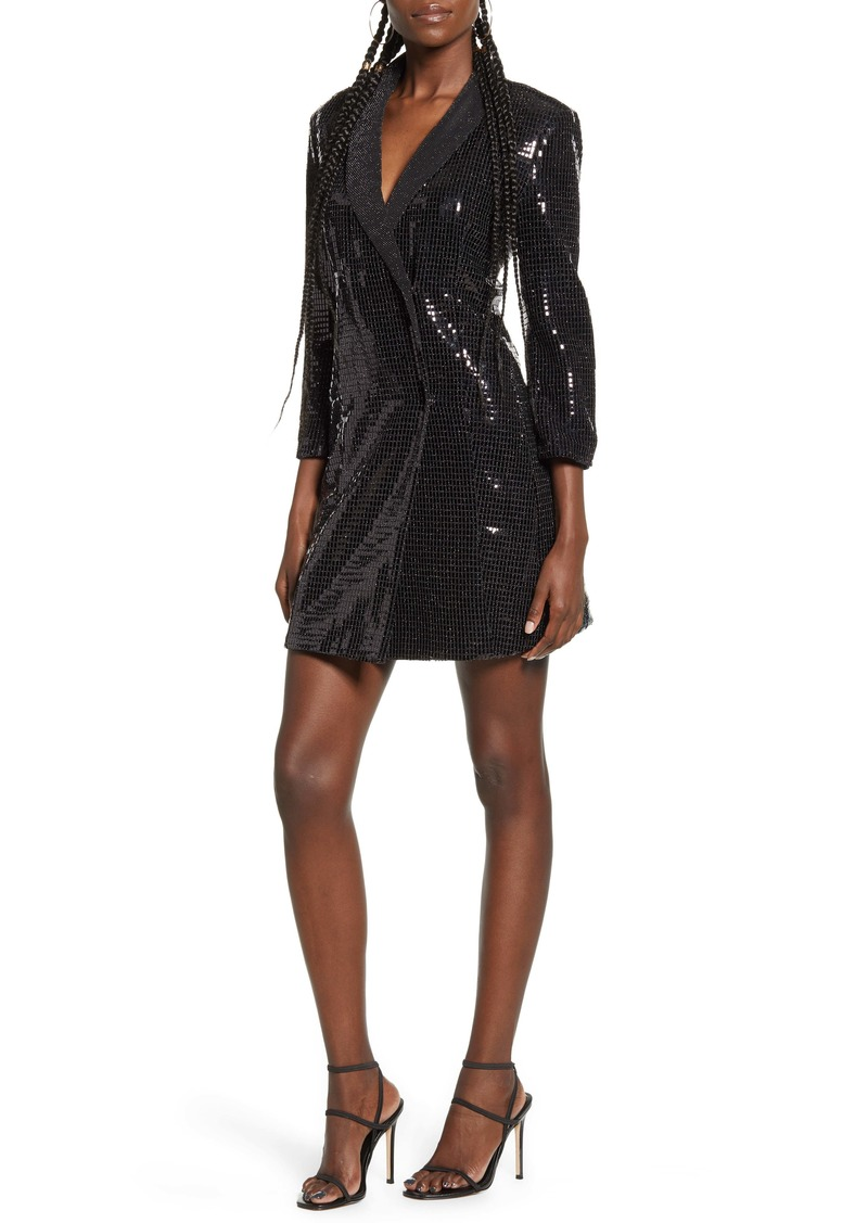 English Factory Holiday Shimmer Tuxedo Minidress