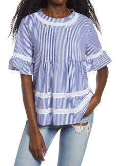 English Factory Lace Trim Pintuck Blouse