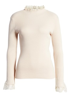 English Factory Lace Trim Ribbed Sweater