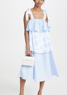 ENGLISH FACTORY Mixed Print Midi Dress
