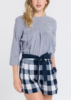 English Factory Pleated Stripe Top with Back Ribbon