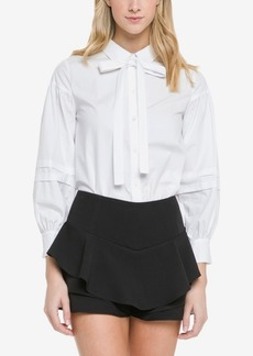 English Factory Puff Sleeve with Pleats Detail Blouse