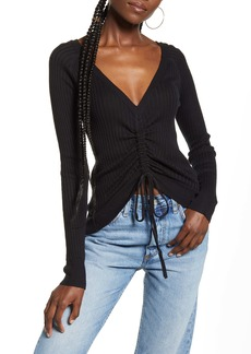 English Factory Ruched Drawstring Sweater