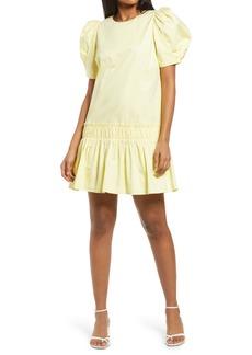 English Factory Ruffle Detail Puff Sleeve Poplin Dress