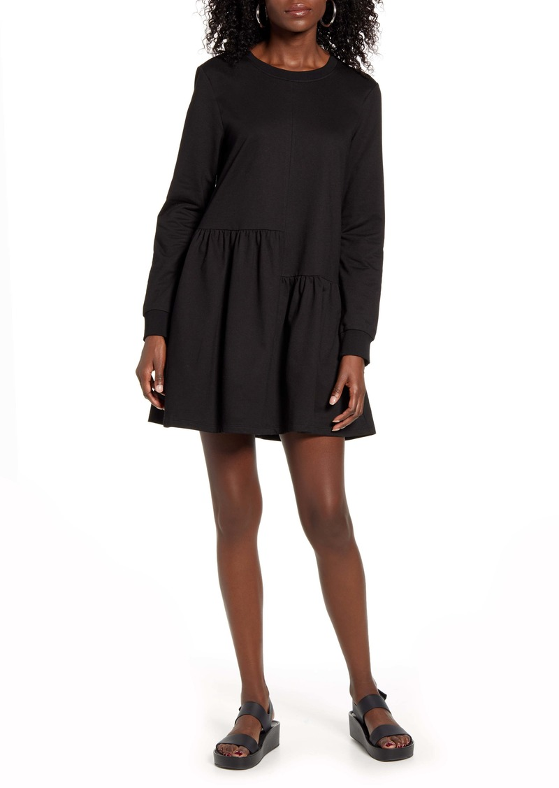 English Factory Ruffle Hem Long Sleeve Knit Dress