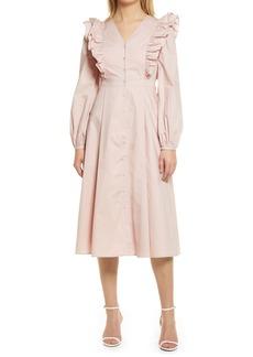 English Factory Ruffle Long Sleeve Button Front Midi Dress