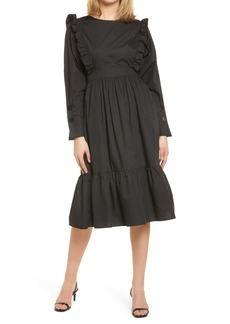 English Factory Ruffle Tiered Long Sleeve Midi Dress