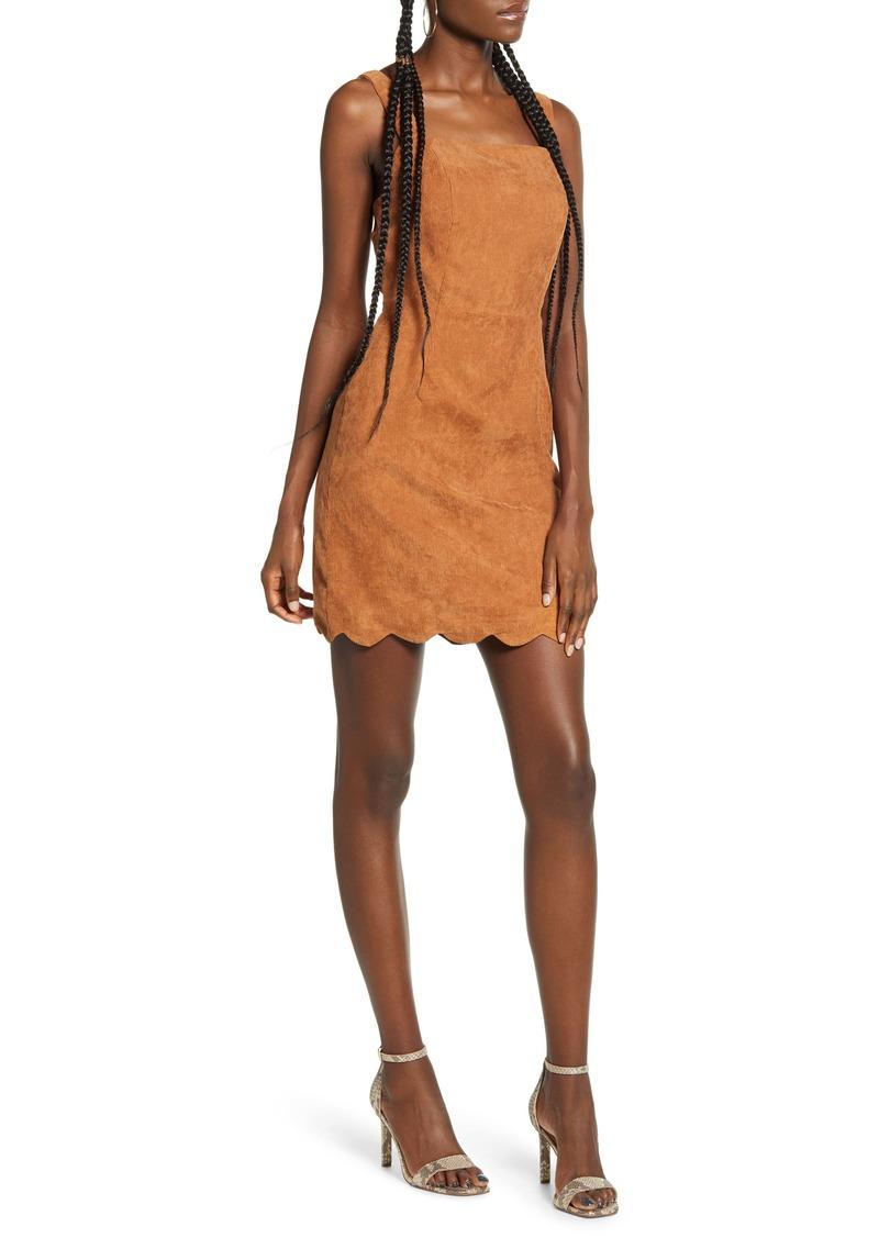 English Factory Scallop Hem Corduroy Pinafore Dress