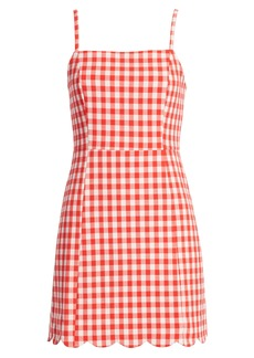 English Factory Scallop Hem Gingham Pinafore Dress