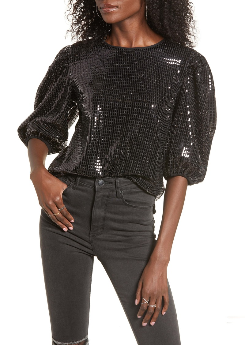 English Factory Sequin Puff Sleeve Top