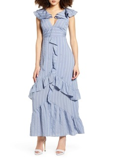English Factory Sleeveless Stripe Ruffle Maxi Dress