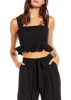 English Factory Square Neck Ruffle Crop Top