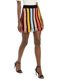 English Factory Stripe Fringe Hem Cotton Knit Miniskirt