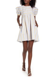English Factory Stripe Puff Sleeve Dress