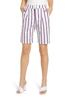 English Factory Stripe Stretch Cotton Bermuda Shorts