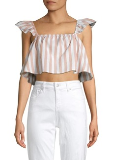 English Factory Frill Detail Striped Top