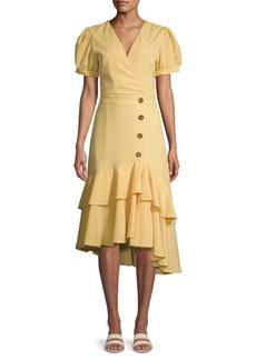 English Factory Gingham Asymmetrical Midi Dress