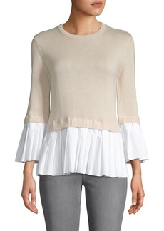 English Factory Knit & Pleats Combo Top
