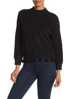 English Factory Mock Neck Pompom Hem Sweater