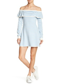 English Factory Off-The-Shoulder Striped Knit Dress