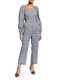 English Factory Plaid Balloon-Sleeve Belted Jumpsuit