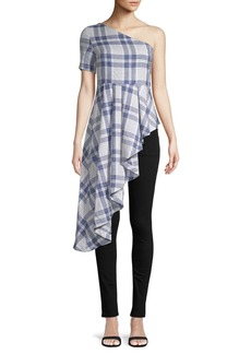 English Factory Plaid One-Shoulder Top