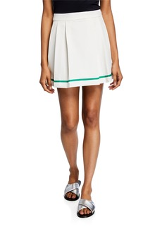 English Factory Pleated Skirt with Accent Trim