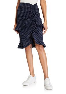 English Factory Ruched Plaid Ruffle Skirt